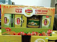 Чай Lipton 75пак (3*25) + 250г мёда набор