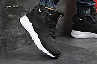 Зимние  ботинки найк  кроссовки Nike Huarache кожа нубук,натур.мех,подошва пена,р-ры:41-46  Вьетнам Черные