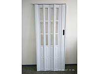 Двери гармошка полуостеклённая белый ясень