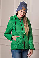 Удлиненная демисезонная женская куртка Rozan зеленого цвета  БЕСПЛАТНАЯ ДОСТАВКА!!!