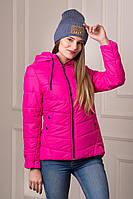 Удлиненная демисезонная женская куртка Rozan малинового цвета  БЕСПЛАТНАЯ ДОСТАВКА!!!