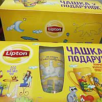 Чай Lipton Yellow label tea набор 100 пак. + чашка