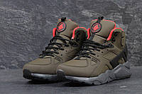 Зимние  ботинки найк  кроссовки Nike Huarache кожа нубук,натур.мех,подошва пена,р-ры:41-46  Вьетнам коричневые