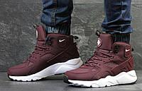 Зимние  ботинки найк  кроссовки Nike Huarache кожа нубук,натур.мех,подошва пена,р-ры:41-46  Вьетнам бордовые