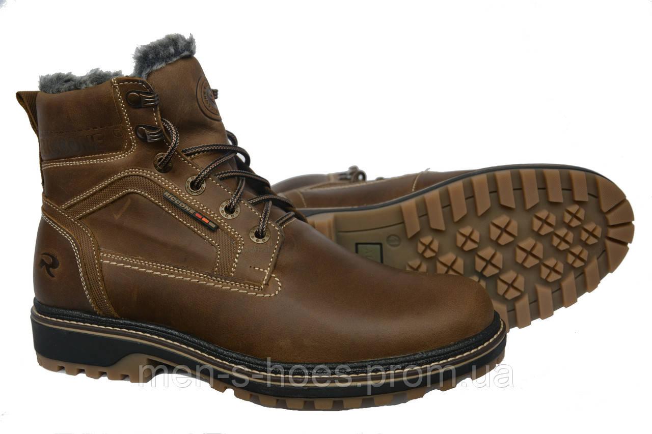 Кожаные  мужские зимние ботинки Riccone