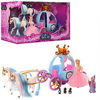 Карета 778397/201 кукла15см,2лошади,фея,мыши,свет,на бат-ке,в кор-ке,48,5-26-19,5см