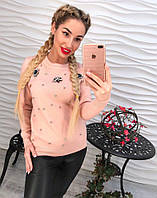 Женский свитер с декором камни и бусины