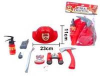 Набір пожежника (каска, вогнегасник, бінокль, рація, компас, скисток, сокира, лом, значок пожеж
