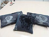 Комплект подушек  3шт серо черные Пионы, фото 1