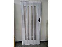 Дверь гармошка остеклённая белый ясень башенка