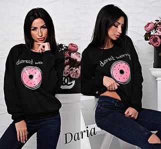 Женский свитшот трехнитка на флисе с накаткой Пончик, женские свитшоты оптом от производителя