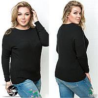 Женский трикотажный свитер черного цвета с длинным рукавом. Модель 15022