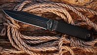 Нож охотничий Флагман чёрный, с довольно крупным и мощным клинком