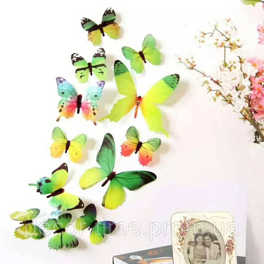 Декор для квартиры 3D бабочки Зеленые (1826)
