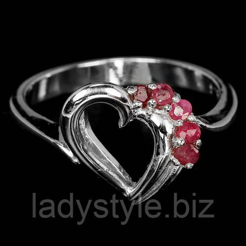 """Яркий перстень """"Сердечко """" с  рубином  , размер 17.5 от студии LadyStyle.Biz"""