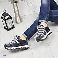 Стильные кроссовки люкс копия D_lce & G_bbana на шнуровке и 2 липучках, цвет серый