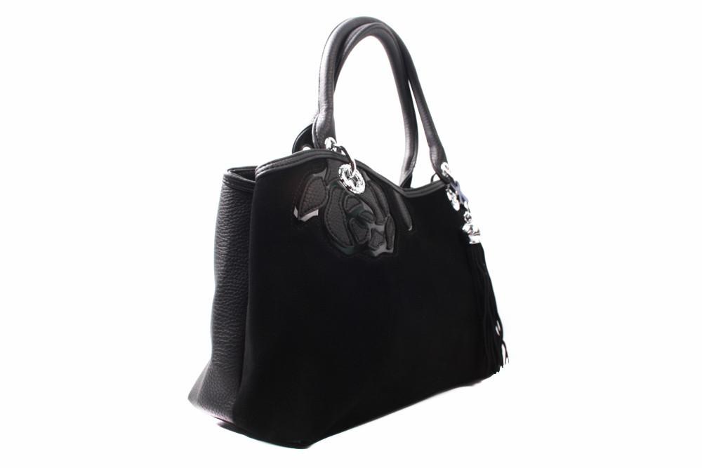 Сумка модельная ShegKasiLu эко-замш, эко-кожа, цвет черный, размер большой, прямоугольная форма, три отделения