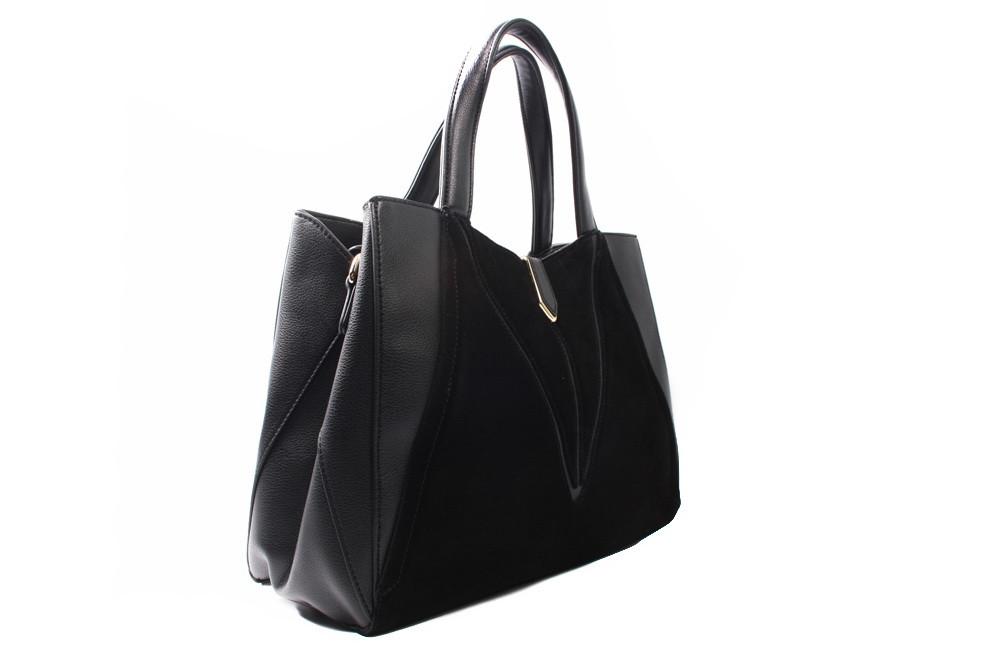 Сумка B.Oalengi эко-замш, эко-кожа, цвет черный, размер большой, квадратная форма