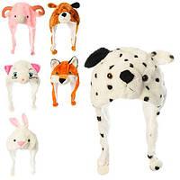 Аксессуары для праздника, шапка-маска, животное, на завязках, плюш, 6 видов  (60шт)