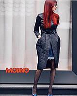 Женское стеганное пальто Няшка черное