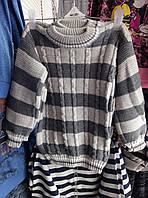 Детский теплый свитер в полоску на мальчиков