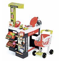 Интерактивный супермаркет с тележкой продуктами и аксессуарами красный 350210