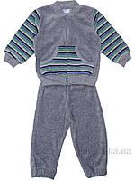 Спортивный костюм Татошка 08340 велюр серый в салатовую полоску 68