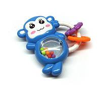 Погремушка для малышей синяя Обезьянка с колечком