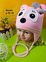 Вязаная детская шапка с завязками на флисе