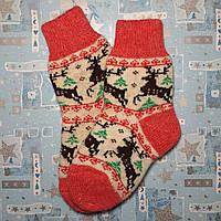 Детские теплые шерстяные носки с оленями 16 см, р. 26-27