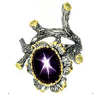 """Необычный перстень """"Багульник """" с звездчатым рубином и хризолитами , размер 17,7 от студии LadyStyle.Biz, фото 1"""