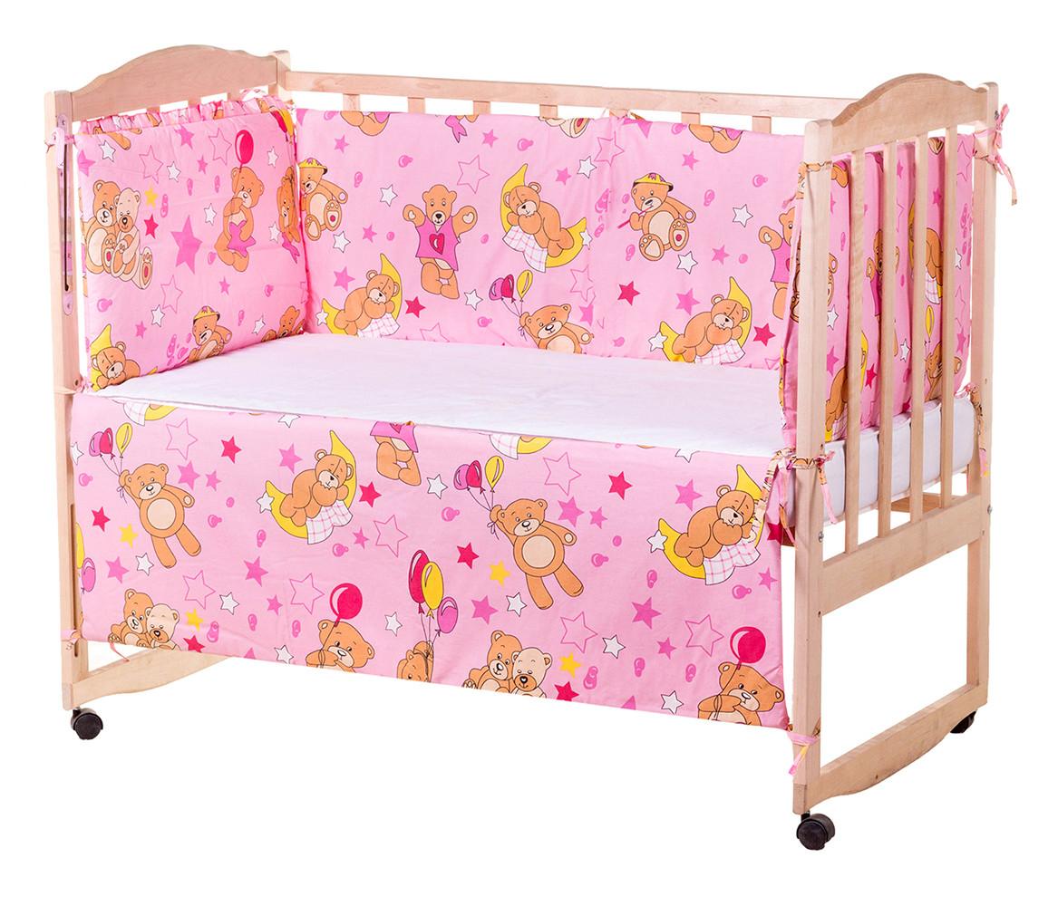 Постель Qvatro Защита на стеночки в кроватке GOLD Розовыя (мишка с шариками)