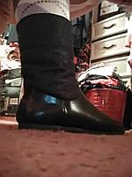 Полная распродажа!цена ниже опта детские ботинки сапоги полусапожки женские черные с оранжевым мехом 36 р