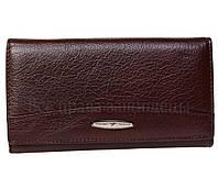 Кожанный женский кошелек коричневого цвета с наружным отделением на молнии T515 CRIMSON women