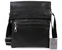 940ee79b1cab Мужская кожаная сумка через плечо с металической молнией черная av-96black  в категории сумки оптом