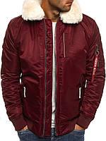 Мужская зимняя  куртка Бомбер с  меховым воротником №2