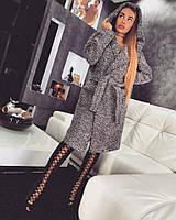 Женское стильное демисезонное теплое шерстяное пальто с поясом
