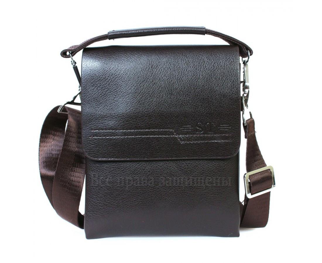 ee8345990603 Сумка плечевая из экокожи коричневая с клапаном 2023-1brown-opt категории сумки  оптом от