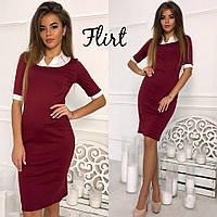Женское стильное платье с рубашечной вставкой (5 цветов)