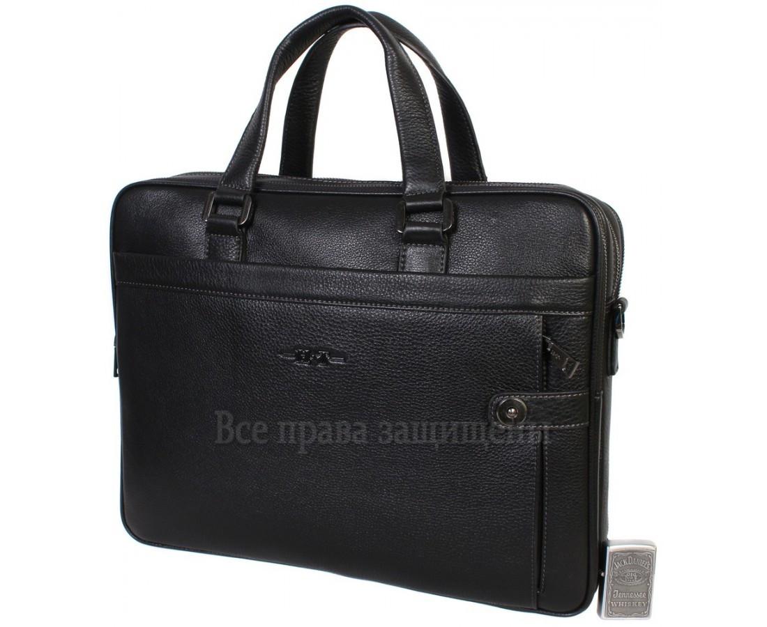 469605f80e5d Стильная мужская сумка для ноутбука формата А4 черного цвета из натуральной  кожи HT-5124-