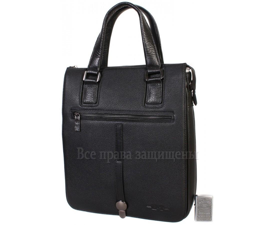 5d897611f052 Стильная наплечная сумка из натуральной кожи черного цвета с ручкой для  современных мужчин HT-5250