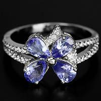 """Хорошенькое кольцо с танзанитами  """"Клевер"""" , размер 17,5 от студии LadyStyle.Biz, фото 1"""