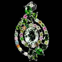 """Роскошная подвеска с  празиолитом- зеленым аметистом и турмалинами  """"Самоцвет""""  от студии LadyStyle.Biz, фото 1"""