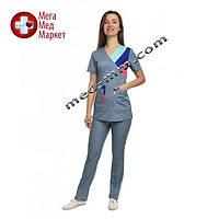 Медицинский костюм женский Рио светло серый/комби № 1075