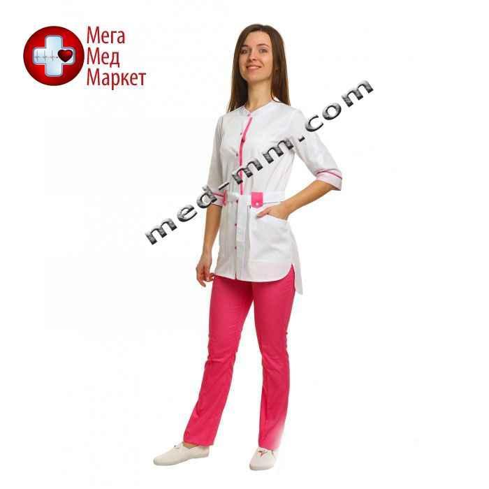 Медицинский костюм Дели белый/розовый №1073