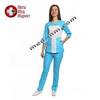 Медицинский костюм женский Фиджи белый/голубой № 1067