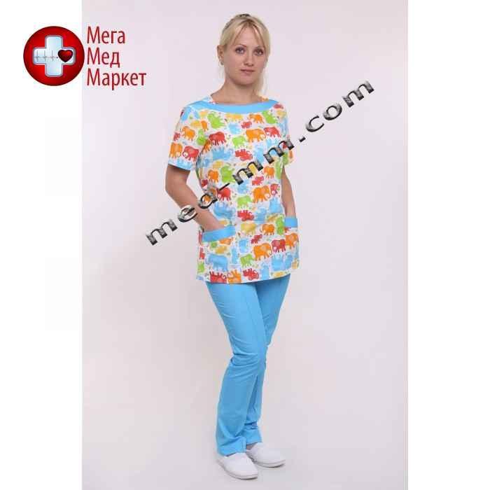 Медицинский костюм Мюнхен принт/голубой №1045