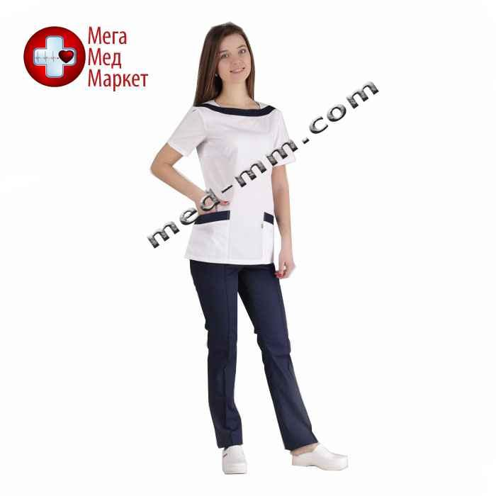 Медицинский костюм Мюнхен белый/синий №1038