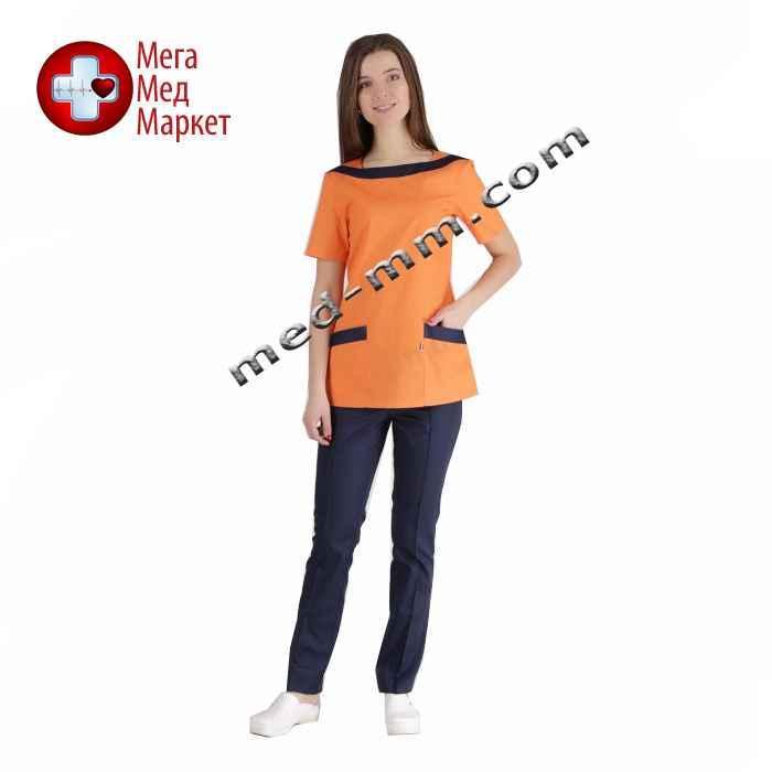 Медицинский костюм Мюнхен оранжевый/синий №1037