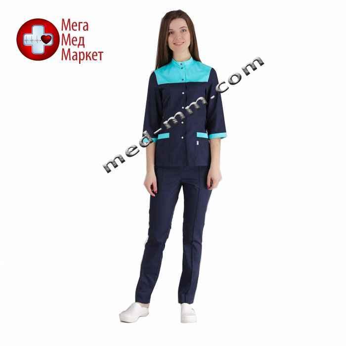 Медицинский костюм Амстердам синий/мятный №1033